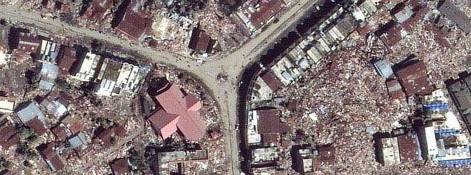 "2. The City of Meulaboh in Sumatra, Republik Indonesia After ""The Great Earthquake and Catastrophic Tsunami of 2004"" <http://ChamorroBible.org/gpw/gpw-The-Great-Earthquake-and-Catastrophic-Tsunami-of-2004.htm>. DigitalGlobe Satellite Photo, January 7, 2005. Photo Credit: DigitalGlobe (http://DigitalGlobe.com), Tsunami Media Gallery, QuickBird Images of Tsunami Sites (http://DigitalGlobe.com/tsunami_gallery.html), Indonesia, January 7, 2005, ""Meluaboh Overview "" ""Area overview"". DigitalGlobe Imagery Analysis: ""Tsunami Aftermath: Calang - Meulaboh, Indonesia; QuickBird Satellite Imagery, January 7, 2005"" <http://www.digitalglobe.com/images/tsunami/Meulaboh_Tsunami_Damage.pdf>."