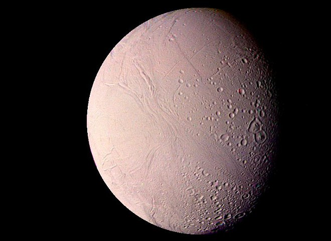 Sunlight Abundantly Reflects Off the Surface of Enceladus, a Saturn Moon and One of the Most Reflective Bodies in the Solar System. Photo Credit: Voyager Mission (http://voyager.jpl.nasa.gov), Voyager 2, August 25, 1981; Planetary Photojournal (http://photojournal.jpl.nasa.gov, PIA01394), National Aeronautics and Space Administration (NASA, http://www.nasa.gov)/Jet Propulsion Laboratory (JPL, http://www.jpl.nasa.gov), Government of the United States of America.