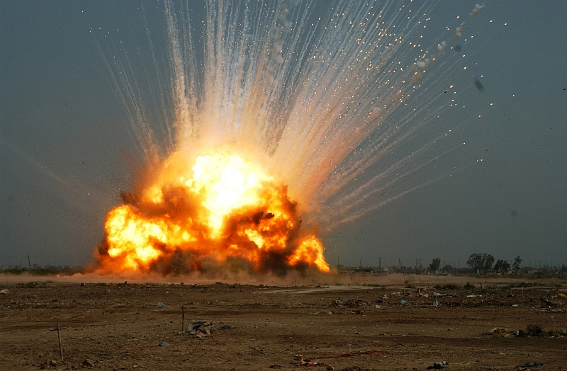 3. Spectacular Explosive and Destructive Power: Controlled Detonation of a Cache of Unexploded Ordnance (UEXO), October 14, 2006, Near Forward Operating Base Falcon, Baghdad, Al Jumhuriyah al Iraqiyah - Republic of Iraq. Photo Credit: Sgt. Jacob H. Smith, 982nd Combat Camera Company, United States Army (U.S. Army, http://www.army.mil) and JCCIMT; Defense Visual Information Center (DVIC, http://www.DoDMedia.osd.mil, 061014-A-5493S-057) and United States Army (U.S. Army, http://www.army.mil), United States Department of Defense (DoD, http://www.DefenseLink.mil or http://www.dod.gov), Government of the United States of America (USA).