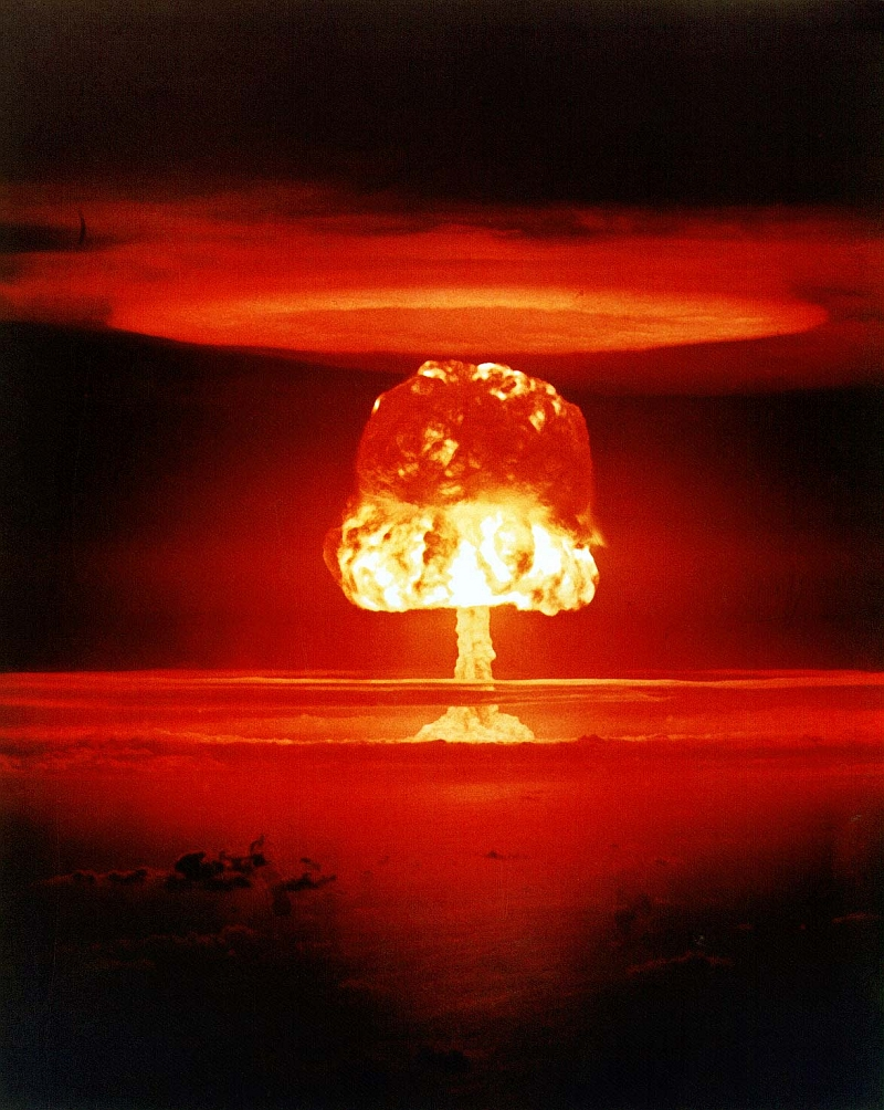 4. Stunning, Frightening Explosive and Destructive Power: Detonation of an 11-megaton Thermonuclear (Also Known as a Hydrogen Bomb or H-Bomb), March 26, 1954, Operation Castle, ROMEO Event. Bikini Atoll, Republic of the Marshall Islands. Photo Credit: U.S. Department of Energy (http://www.doe.gov) - National Nuclear Security Administration (http://www.nnsa.doe.gov) - Nevada Site Office (http://www.nv.doe.gov) - Photo Library (http://www.nv.doe.gov/library/photos) Category: Amospheric Testing - Number: XX-33. Photo courtesy of National Nuclear Security Administration / Nevada Site Office, United States Department of Energy (http://www.doe.gov), Government of the United States of America.