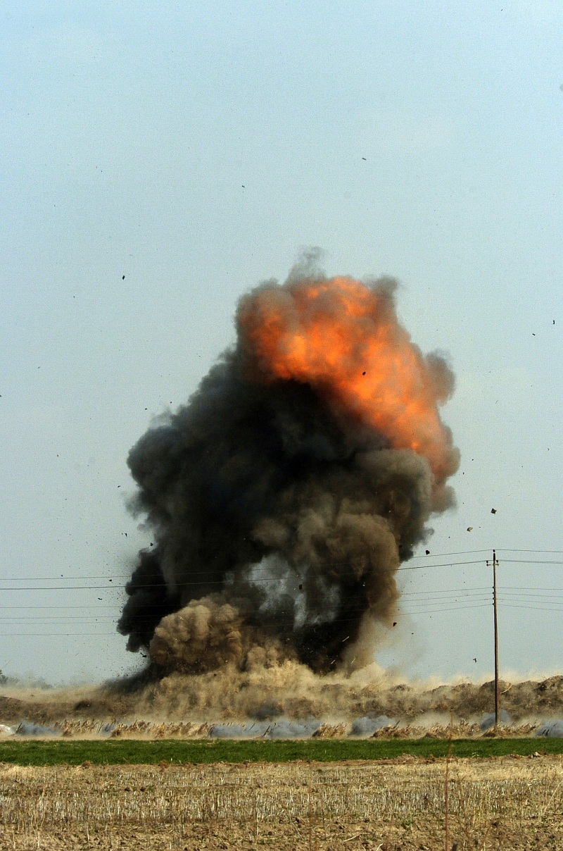 1. Explosive and Destructive Power: Fire In the Cloud. Controlled Detonation of Unexploded Ordnance, February 10, 2005, Baghdad, Al Jumhuriyah al Iraqiyah - Republic of Iraq. Photo Credit: Photographer's Mate 1st Class Richard J. Brunson, Navy NewsStand - Eye on the Fleet Photo Gallery (http://www.news.navy.mil/view_photos.asp, 050210-N-6932B-214), United States Navy (USN, http://www.navy.mil), United States Department of Defense (DoD, http://www.DefenseLink.mil or http://www.dod.gov), Government of the United States of America (USA).