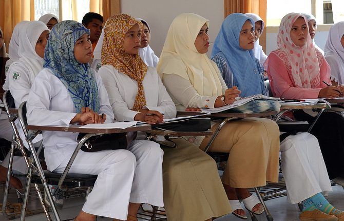 Nursing Students at Indonesia's University Hospital Attend a Lecture on Proper Diabetes Care and Treatment Given By Nurses from the United States Military Sealift Command (MSC) Hospital Ship USNS Mercy (T-AH 19) on February 23, 2005, Banda Aceh, Sumatra, Republik Indonesia. Photo Credit: Photographer's Mate 2nd Class Timothy Smith, Navy NewsStand - Eye on the Fleet Photo Gallery (http://www.news.navy.mil/view_photos.asp, 050223-N-8796S-135), United States Navy (USN, http://www.navy.mil), United States Department of Defense (DoD, http://www.DefenseLink.mil or http://www.dod.gov), Government of the United States of America (USA).