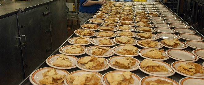 Placing a Slice of Apple Pie Plate by Plate, November 25, 2004, Aboard the U.S. Navy USS Harry S. Truman, Persian Gulf. Photo Credit: Photographer's Mate Rome J Toledo, Navy NewsStand - Eye on the Fleet Photo Gallery (http://www.news.navy.mil/view_photos.asp, 041125-N-4584T-006), United States Navy (USN, http://www.navy.mil), United States Department of Defense (DoD, http://www.DefenseLink.mil or http://www.dod.gov), Government of the United States of America (USA).