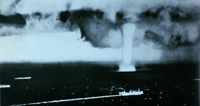 2. Huge Waterspout in the North Atlantic Ocean During World War II (WWII). Photo Credit: Archival Photograph by Mr. Steve Nicklas, NOS, NGS; Royal Air Force Photograph; National Oceanic and Atmospheric Administration Photo Library (http://www.photolib.noaa.gov, wea00344), Historic NWS Collection, National Oceanic and Atmospheric Administration (NOAA, http://www.noaa.gov), United States Department of Commerce (http://www.commerce.gov), Government of the United States of America (USA).