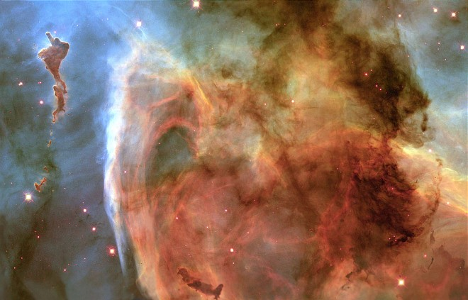 The Keyhole Nebula - Carina Nebula (NGC 3372). Photo Credit: Light and Shadow in the Carina Nebula, April 1999 (Released: February 3, 2000), STScI-2000-06, NASA's Earth-orbiting Hubble Space Telescope (http://HubbleSite.org); The Hubble Heritage Team (STScI/AURA), National Aeronautics and Space Administration (NASA, http://www.nasa.gov), Government of the United States of America (USA).