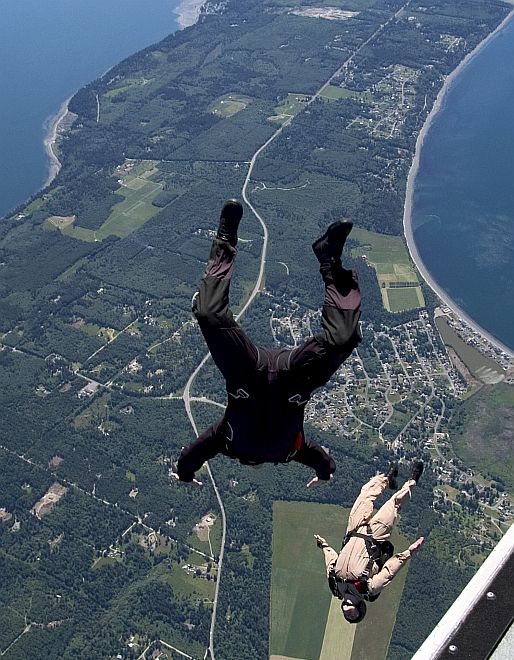 Parachutists (Parachute Jumpers) 10,000 Feet Above Whidbey Island, State of Washington, USA. Photo Credit: Photographer's Mate 3rd Class Chris Otsen, Navy NewsStand - Eye on the Fleet Photo Gallery (http://www.news.navy.mil/view_photos.asp, 050531-N-8921O-002), United States Navy (USN, http://www.navy.mil); United States Department of Defense (DoD, http://www.DefenseLink.mil or http://www.dod.gov), Government of the United States of America (USA).