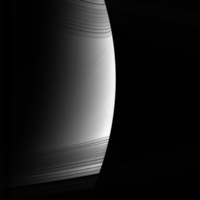 The Rings of Saturn Cast as Shadows on the Surface of the Planet. Photo Credit: Cassini Mission (http://saturn.jpl.nasa.gov), Cassini Orbiter, May 21, 2005; Planetary Photojournal (http://photojournal.jpl.nasa.gov, PIA07532), National Aeronautics and Space Administration (NASA, http://www.nasa.gov)/Jet Propulsion Laboratory (JPL, http://www.jpl.nasa.gov)/Space Science Institute (http://ciclops.org), Government of the United States of America.
