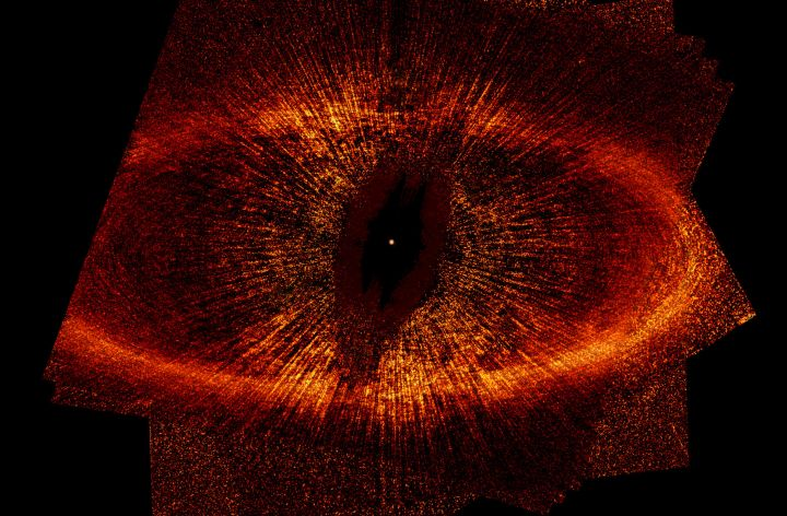 Surrounding the Bright Star Fomalhaut, or Alpha Piscis Austrini (HD 216956), is an Enormous Dust Ring Approximately 26 Billion Miles (42 Billion Kilometers, 280AU) in Diameter. Photo Credit: Debris Ring Around a Star, May 2004, August 2004, and October 2004 (Release date: June 22, 2005), STScI-2005-10, NASA's Earth-orbiting Hubble Space Telescope (http://HubbleSite.org); European Space Agency (ESA, http://SpaceTelescope.org), P. Kalas and J. Graham (University of California, Berkeley, State of California), and M. Clampin (NASA's Goddard Space Flight Center), and National Aeronautics and Space Administration (NASA, http://www.nasa.gov), Government of the United States of America (USA).