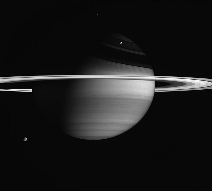 Splendid Portrait of Saturn and Its Majestic Rings With the Planet's Three Largest and Brightest Moons: Titan, Rhea, and Enceladus. Photo Credit: Cassini-Huygens Mission (http://saturn.jpl.nasa.gov), Cassini Orbiter, February 5, 2005; Planetary Photojournal (http://photojournal.jpl.nasa.gov, PIA06604), National Aeronautics and Space Administration (NASA, http://www.nasa.gov)/Jet Propulsion Laboratory (JPL, http://www.jpl.nasa.gov)/Space Science Institute (http://ciclops.org), Government of the United States of America.