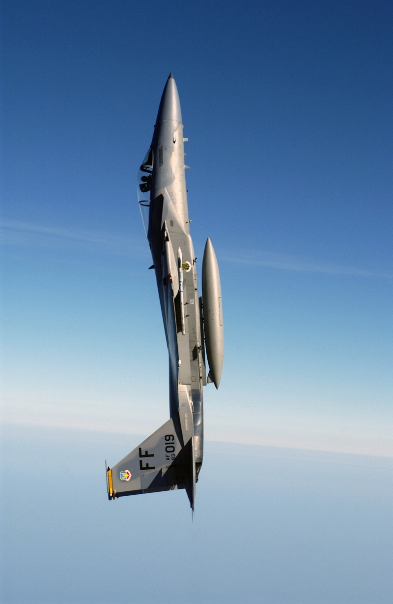 20. A U.S. Air Force F-15C Eagle Fighter Jet Goes Vertical Above the Atlantic Ocean, August 24, 2004. Photo Credit: Tech. Sgt. Ben Bloker, United States Air Force; Defense Visual Information (DVI, http://www.DefenseImagery.mil, 040824-F-YL744-008, 040824-F-2295B-008 and DF-SD-07-09251) and United States Air Force (USAF, http://www.af.mil), United States Department of Defense (DoD, http://www.DefenseLink.mil or http://www.dod.gov), Government of the United States of America (USA).