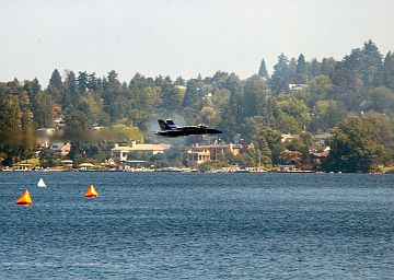 Lumamlam (Septiembre) 14, 2005, Salmo 104:10-13. August 6, 2005, SEAFAIR 2005 KeyBank Air Show, Seattle, State of Washington, USA: The Scenic View of the Tree-Covered Landscape Overlooking Lake Washington is Enhanced by the Prandtl-Glauert Cloud Around a Low Flying and Transonic U.S. Navy Blue Angels F/A-18A 'Hornet' Fighter Jet. Photo Credit: Photographer's Mate 3rd Class Douglas G. Morrison, Navy NewsStand - Eye on the Fleet Photo Gallery (http://www.news.navy.mil/view_photos.asp, 050806-N-3390M-019), United States Navy (USN, http://www.navy.mil), United States Department of Defense (DoD, http://www.DefenseLink.mil or http://www.dod.gov), Government of the United States of America (USA). Flying within the transonic regime -- speeds varying near and at the speed of sound (supersonic) -- can generate impressive condensation clouds caused by the Prandtl-Glauert Singularity. For a scientific explanation, see Dr. Mark. S. Cramer's Gallery of Fluid Mechanics, Prandtl-Glauert Singularity at <http://www.GalleryOfFluidMechanics.com/conden/pg_sing.htm>; the Prandtl-Glauert Condensation Clouds tutorial at <http://FluidMech.net/tutorials/sonic/prandtl-glauert-clouds.htm>; and Foundations of Fluid Mechanics, Navier-Stokes Equations Potential Flows: Prandtl-Glauert Similarity Laws at <http://www.Navier-Stokes.net/nspfsim.htm>.
