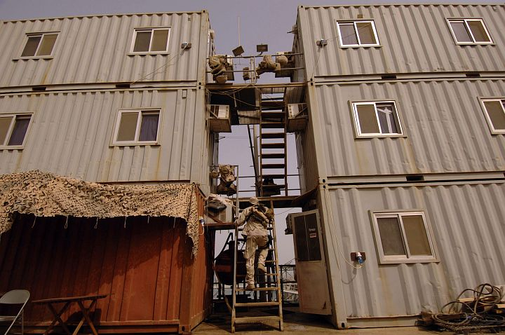After a Long Watch, the Soldier Climbs the Metal Rungs Leading to His Sleeping Quarters in the North Persian Gulf, June 12, 2005. Al Basrah Oil Terminal, Basra, Al Jumhuriyah al Iraqiyah - Republic of Iraq. Photo Credit: Photographer's Mate 1st Class Aaron Ansarov, Navy NewsStand - Eye on the Fleet Photo Gallery (http://www.news.navy.mil/view_photos.asp, 050612-N-4309A-335), United States Navy (USN, http://www.navy.mil); United States Department of Defense (DoD, http://www.DefenseLink.mil or http://www.dod.gov), Government of the United States of America (USA).