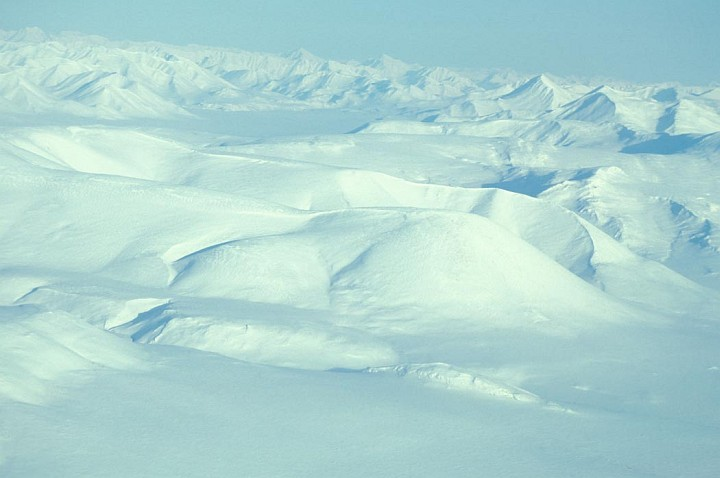 Pure White Snow Covers Mountains and the Noatak River at the Noatak National Preserve, State of Alaska, USA. Photo Credit: Jo Goldmann, Alaska Image Library, United States Fish and Wildlife Service Digital Library System (http://images.fws.gov, SL-02895), United States Fish and Wildlife Service (FWS, http://www.fws.gov), United States Department of the Interior (http://www.doi.gov), Government of the United States of America (USA).