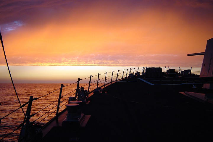 Very Beautiful Sunset Over the Pacific Ocean, September 19, 2005, State of California, USA. Photo Credit (Full size): Chief Fire Controlman Russell W. Evenson, Navy NewsStand - Eye on the Fleet Photo Gallery (http://www.news.navy.mil/view_photos.asp, 050919-N-5530E-001), United States Navy (USN, http://www.navy.mil); United States Department of Defense (DoD, http://www.DefenseLink.mil or http://www.dod.gov), Government of the United States of America (USA).