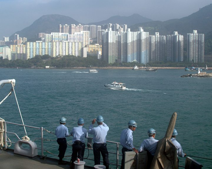 Entering Hong Kong by Sea, Xianggang Tebie Xingzhengqu - Hong Kong Special Administrative Region. Photo Credit: Journalist Seaman Adam R. Cole, Navy NewsStand - Eye on the Fleet Photo Gallery (http://www.news.navy.mil/view_photos.asp, 051113-N-4124C-001), United States Navy (USN, http://www.navy.mil); United States Department of Defense (DoD, http://www.DefenseLink.mil or http://www.dod.gov), Government of the United States of America (USA).