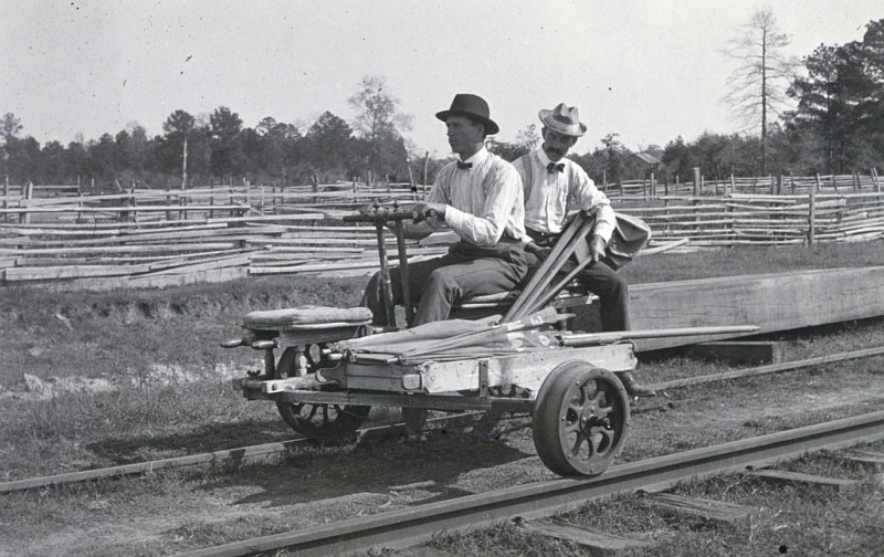 On the Railroad Tracks: The Level Party of W. H. Burger Rides to Work on a Hand-and-Foot-Powered Velocipede, 1902. Indian Territory, Oklahoma, USA. Photo Credit: NOAA John Hayford Album, National Oceanic and Atmospheric Administration Photo Library (http://www.photolib.noaa.gov, theb0741), Historic C&GS Collection, NOAA Central Library, National Oceanic and Atmospheric Administration (NOAA, http://www.noaa.gov), United States Department of Commerce (http://www.commerce.gov), Government of the United States of America (USA).