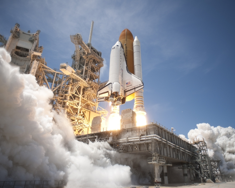 33. Liftoff of Space Shuttle Atlantis (STS-132) From Launch Pad 39A, May 14, 2010, NASA Kennedy Space Center, State of Florida, USA. Photo Credit: Tony Gray and Tom Farrar; Kennedy Media Gallery (http://mediaarchive.ksc.nasa.gov) Photo Number: KSC-2010-3416, John F. Kennedy Space Center (KSC, http://www.nasa.gov/centers/kennedy), National Aeronautics and Space Administration (NASA, http://www.nasa.gov), Government of the United States of America.