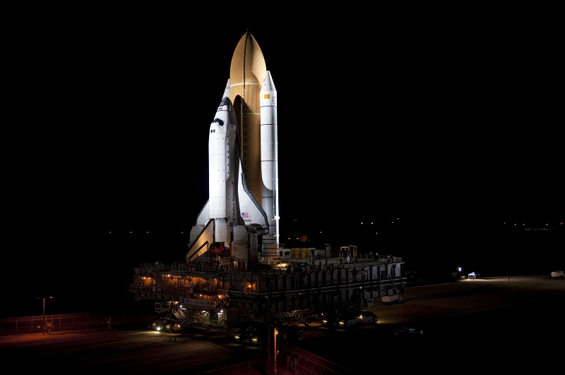 22. Space Shuttle Atlantis (STS-135) Rolls Out at Night to Launch Pad 39A, May 31, 2011, NASA Kennedy Space Center, State of Florida, USA. Photo Credit: Kim Shiflett, Kennedy Media Gallery (http://mediaarchive.ksc.nasa.gov) Photo Number: KSC-2011-4113, John F. Kennedy Space Center (KSC, http://www.nasa.gov/centers/kennedy), National Aeronautics and Space Administration (NASA, http://www.nasa.gov), Government of the United States of America.