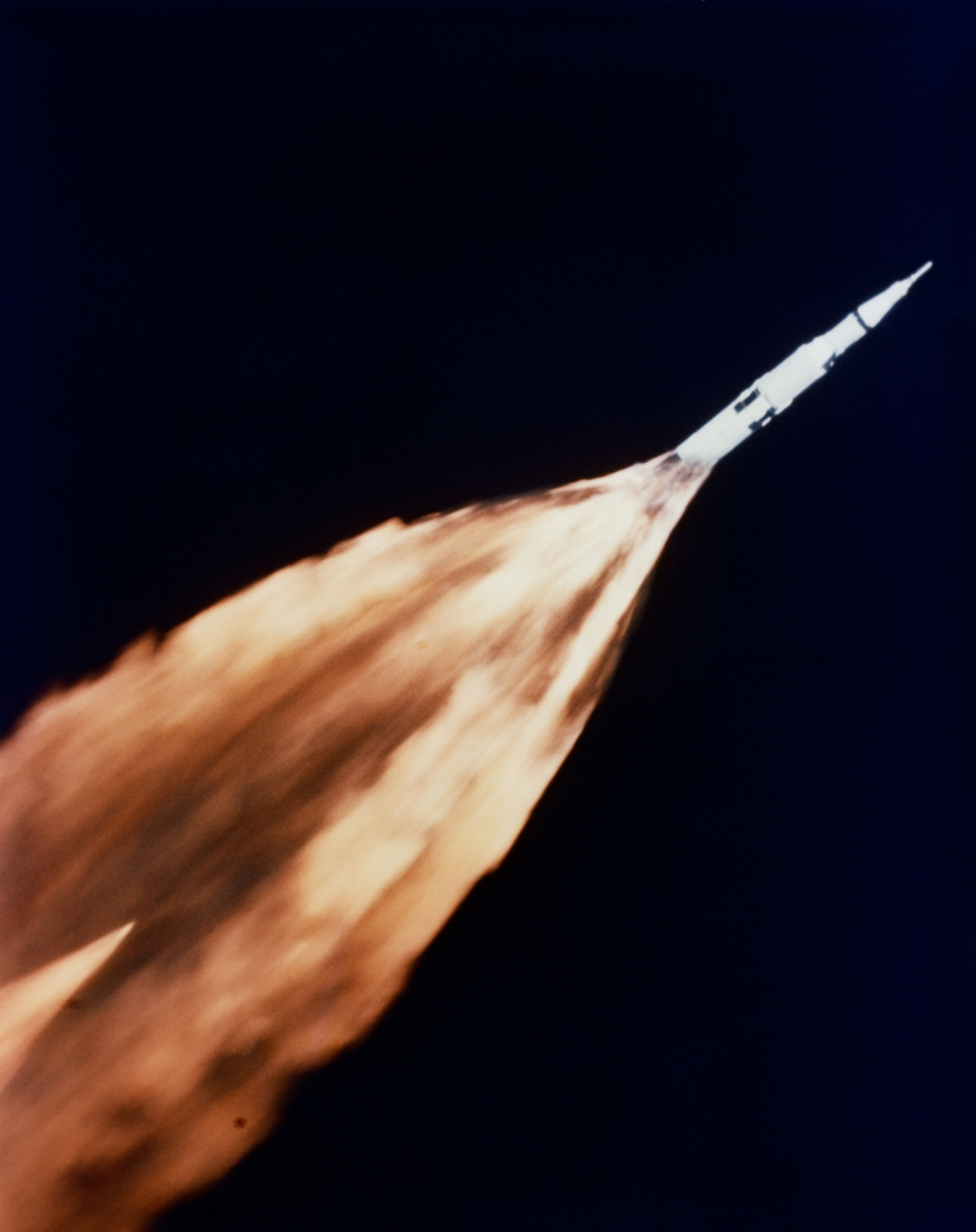 32. NASA Apollo Mission VI (Spacecraft 020/Saturn 502): Five First Stage (S-IC) F-1 Engines, Generating An Enormous Flame of Fire, Power the Saturn V Rocket Propelling the Unmanned Apollo 6 Spacecraft 020 Into Space Seconds After Liftoff, April 4, 1968, NASA John F. Kennedy Space Center, State of Florida, USA. Photo Credit: NASA Apollo VI Mission: Unmanned Apollo 6 (Spacecraft 020/Saturn 502); Apollo Imagery (http://spaceflight.nasa.gov/gallery/images/apollo/apollo6/ndxpage1.html): S68-27366 (http://spaceflight.nasa.gov/gallery/images/apollo/apollo6/html/s68-27366.html), NASA Human Space Flight (http://spaceflight.nasa.gov), National Aeronautics and Space Administration (NASA, http://www.nasa.gov), Government of the United States of America.