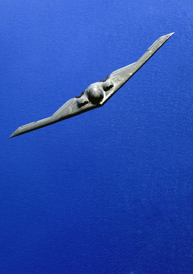 21. USAF B-2 Spirit Stealth Bomber Over the Pacific Ocean During An Aerial Refueling Mission, June 29, 2005. Photo Credit: Tech. Sgt. Cecilio Ricardo, United States Air Force; Defense Visual Information (DVI, http://www.DefenseImagery.mil, DF-SD-08-19848 and 050629-F-3961R-166) and United States Air Force (USAF, http://www.af.mil), United States Department of Defense (DoD, http://www.DefenseLink.mil or http://www.dod.gov), Government of the United States of America (USA).