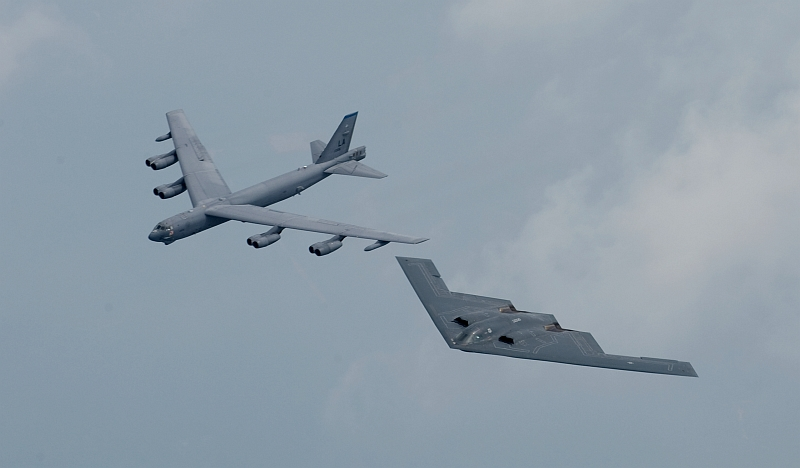 11. A United States Air Force B-52 Stratofortress Bomber and a United States Air Force B-2 Spirit Stealth Bomber Fly In Formation Over Shreveport During the 2008 Defenders of Liberty Airshow and Open House at Barksdale Air Force Base, May 10, 2008, Shreveport, State of Louisiana, USA. Photo Credit: SSgt. Samuel E. Rogers, 1st Fighter Wing Public Affairs, Air Force Link - Photos (http://www.af.mil/photos, 080510-F-0986R-005, '75th Anniversary of Barksdale AFB'), United States Air Force (USAF, http://www.af.mil), United States Department of Defense (DoD, http://www.DefenseLink.mil or http://www.dod.gov), Government of the United States of America (USA).