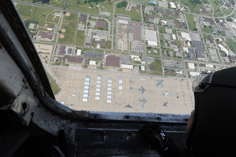 29. An Aerial View of Aircraft -- Including the U.S. Air Force F-22A Raptor Stealth Fighter Jet, the U.S. Air Force B-2 Spirit Stealth Bomber, the U.S. Air Force B-52 Stratofortress Bomber, and the U.S. Air Force B-1B Lancer Bomber -- at the 2012 Wings Over Whiteman Open House and Air Show, May 20, 2012 Whiteman Air Force Base, State of Missouri, USA. Photo Credit: Staff Sgt. Nick Wilson, Air Force Link - Photos (http://www.af.mil/photos, 120520-F-IW726-083, '2012 Wings Over Whiteman Open House and Air Show'), United States Air Force (USAF, http://www.af.mil), United States Department of Defense (DoD, http://www.DefenseLink.mil or http://www.dod.gov), Government of the United States of America (USA).
