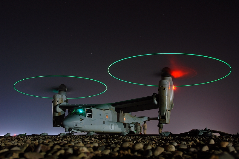 3. Refueling the United States Marine Corps MV-22 Osprey Tiltrotor Aircraft at Night, February 2, 2008, Al Jumhuriyah al Iraqiyah - Republic of Iraq. Photo Credit: Chief Mass Communication Specialist Joe Kane, Navy NewsStand - Eye on the Fleet Photo Gallery (http://www.news.navy.mil/view_photos.asp, 080202-N-9643K-008), United States Navy (USN, http://www.navy.mil), United States Department of Defense (DoD, http://www.DefenseLink.mil or http://www.dod.gov), Government of the United States of America (USA).