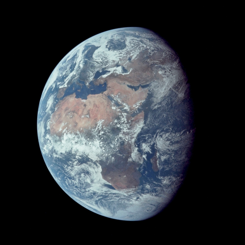 14. Earth -- Europe, Atlantic Ocean, Africa, Mediterranean Sea, Madagascar, Arabian Peninsula, Middle East, Antarctica South Polar Ice Cap, Asian Mainland, Indian Ocean -- Backdropped By the Blackness of Space, July 16, 1969, As Seen From NASA's Apollo 11 Spacecraft. Photo Credit: NASA Apollo 17 Astronauts; AS11-36-5355; Image Science and Analysis Laboratory, NASA-Johnson Space Center.'Astronaut Photography of Earth - Display Record.' <http://eol.jsc.nasa.gov/scripts/sseop/photo.pl?mission=AS11&roll=36&frame=5355>; National Aeronautics and Space Administration (NASA, http://www.nasa.gov), Government of the United States of America (USA).