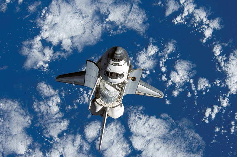 28. Backdropped by Beautiful Blue-and-White Earth, Space Shuttle Discovery (STS-120) Approaches the International Space Station, October 25, 2007, As Seen From the International Space Station (Expedition 16). Photo Credit: STS-120 Shuttle Mission Imagery (http://spaceflight.nasa.gov/gallery/images/shuttle/sts-120/ndxpage1.html), ISS016-E-006331 (http://spaceflight.nasa.gov/gallery/images/shuttle/sts-120/html/iss016e006331.html), NASA Human Space Flight (http://spaceflight.nasa.gov), National Aeronautics and Space Administration (NASA, http://www.nasa.gov), Government of the United States of America.