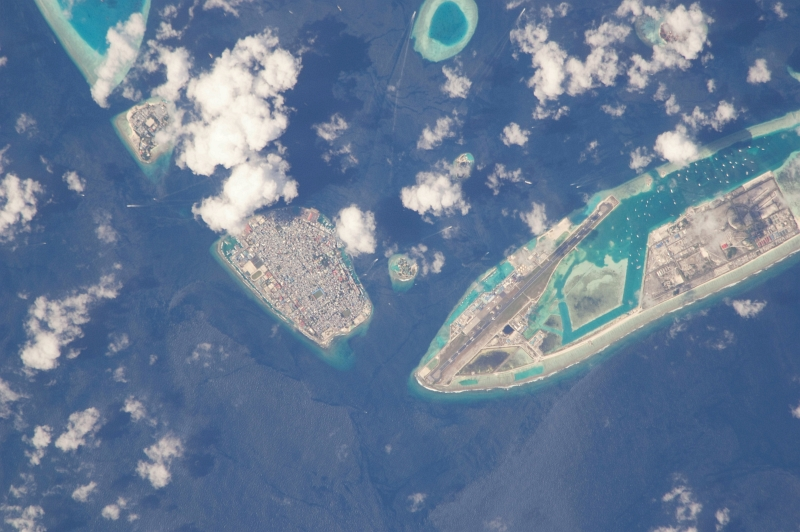 15. Male, Hulhule Island, and Male International Airport, Dhivehi Raajjeyge Jumhooriyyaa - Republic of Maldives, January 12, 2010 at 08:38:57 GMT, As Seen From the International Space Station (Expedition Twenty-Two). Photo Credit: NASA; ISS022-E-24201, International Space Station (Expedition 23); Image Science and Analysis Laboratory, NASA-Johnson Space Center. 'Astronaut Photography of Earth - Display Record.' <http://eol.jsc.nasa.gov/scripts/sseop/photo.pl?mission=ISS022&roll=E&frame=24201>; National Aeronautics and Space Administration (NASA, http://www.nasa.gov), Government of the United States of America (USA).