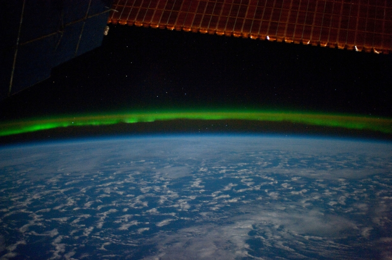 12. Stars, a Green Aurora Australis (Southern Lights), and the Indian Ocean on March 28, 2010 at 23:20:02 GMT, As Seen From the International Space Station (Expedition Twenty-Three). Photo Credit: NASA; ISS023-E-16645, International Space Station (Expedition 23); Image Science and Analysis Laboratory, NASA-Johnson Space Center. 'Astronaut Photography of Earth - Display Record.' <http://eol.jsc.nasa.gov/scripts/sseop/photo.pl?mission=ISS023&roll=E&frame=16645>; National Aeronautics and Space Administration (NASA, http://www.nasa.gov), Government of the United States of America (USA).