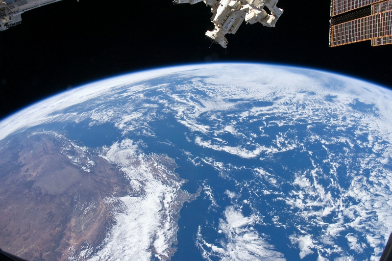 21. Cloud-Covered South Atlantic Ocean, the Southern Part of Africa, and a Cloud-Covered Indian Ocean, October 19, 2010 at 08:02:25 GMT, As Seen From the International Space Station (Expedition Twenty-Five), Latitude (LAT): -30.8, Longitude (LON): 15.1, Altitude (ALT): 193 Nautical Miles, Sun Azimuth (AZI): 70 degrees, Sun Elevation Angle (ELEV): 47 degrees. Photo Credit: NASA; ISS025-E-8202, International Space Station (Expedition 25); Image Science and Analysis Laboratory, NASA-Johnson Space Center. 'Astronaut Photography of Earth - Display Record.' <http://eol.jsc.nasa.gov/scripts/sseop/photo.pl?mission=ISS025&roll=E&frame=8202>; National Aeronautics and Space Administration (NASA, http://www.nasa.gov), Government of the United States of America (USA).
