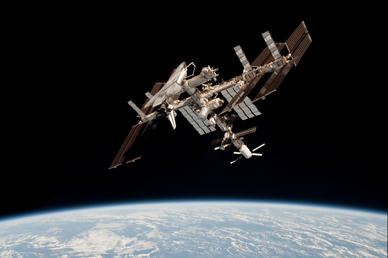 25. Space Shuttle Endeavour (STS-134) Docked to the International Space Station (Expedition 27) High Above Earth, May 23, 2011, As Seen From Russia's Soyuz TMA-20 Spacecraft. Photo Credit: Paolo Angelo Nespoli, European Space Agency Astronaut; International Space Station (http://spaceflight.nasa.gov/gallery/images/station/crew-27/ndxpage1.html), ISS027-E-036680 (http://spaceflight.nasa.gov/gallery/images/station/crew-27/html/iss027e036680.html), NASA Human Space Flight (http://spaceflight.nasa.gov), National Aeronautics and Space Administration (NASA, http://www.nasa.gov), Government of the United States of America.