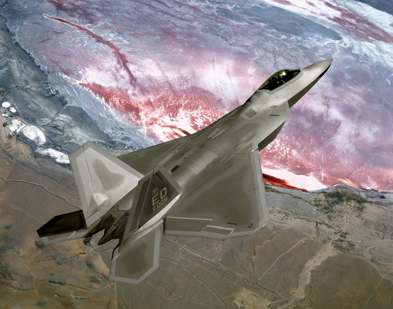 20. U.S. Air Force F/A-22 Raptor Stealth Fighter Jet On a Training Mission, State of California, USA. Photo Credit: United States Air Force; AF.mil - Photos (http://www.af.mil/photos, 050401-F-0000J-001), United States Department of Defense (DoD, http://www.DefenseLink.mil or http://www.dod.gov), Government of the United States of America (USA).