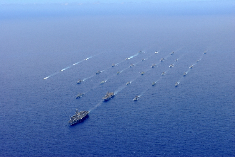 39. Rim of the Pacific (RIMPAC) 2010 Exercise: U.S. Navy Aircraft Carrier USS Ronald Reagan (CVN 76) Transits the Pacific Ocean With Ships and Submarines Assigned to RIMPAC 2010 Combined Task Force North of State of Hawaii, USA, July 24, 2010, Photo Credit: Mass Communication Specialist 3rd Class Dylan McCord, United States Navy; Defense Visual Information (DVI, http://www.DefenseImagery.mil, 100724-N-SB672-926) and United States Navy (USN, http://www.navy.mil), United States Department of Defense (DoD, http://www.DefenseLink.mil or http://www.dod.gov), Government of the United States of America (USA).