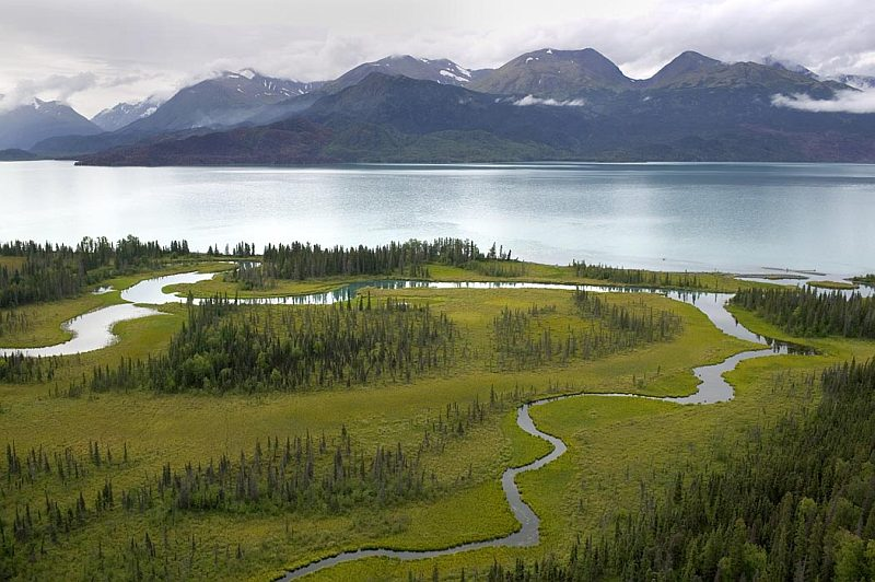Beautiful Aerial View of the Kenai National Wildlife Refuge Landscape, State of Alaska, USA. Photo Credit: Steve Hillebrand, Alaska Image Library, United States Fish and Wildlife Service Digital Library System (http://images.fws.gov, DI-2C8X0696), United States Fish and Wildlife Service (FWS, http://www.fws.gov), United States Department of the Interior (http://www.doi.gov), Government of the United States of America (USA).
