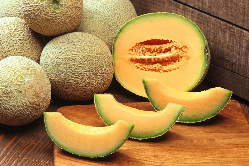 Sweet, Delicious Fruit In the Melon Family: Cantaloupes (Muskmelons). Photo Credit: Scott Bauer (http://www.ars.usda.gov/is/graphics/photos, K7388-11), Agricultural Research Service (ARS, http://www.ars.usda.gov), United States Department of Agriculture (USDA, http://www.usda.gov), Government of the United States of America (USA).