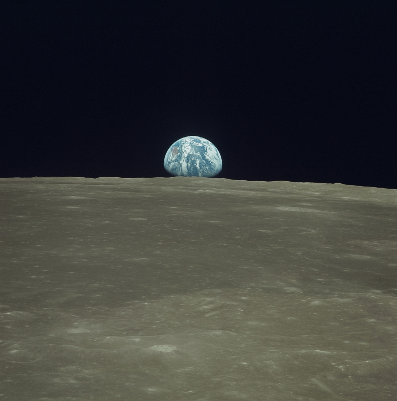 27. Earth Rising Over the Moon's Horizon, July 20, 1969, As Seen From the NASA Apollo 11 Spacecraft. Photo Credit: NASA; AS11-44-6549, Earthrise over the lunar limb, Moon surface, Apollo 11 Spacecraft, Apollo XI Mission; Image Science and Analysis Laboratory, NASA-Johnson Space Center. 'Astronaut Photography of Earth - Display Record.' <http://eol.jsc.nasa.gov/scripts/sseop/photo.pl?mission=AS11&roll=44&frame=6549>; National Aeronautics and Space Administration (NASA, http://www.nasa.gov), Government of the United States of America (USA).