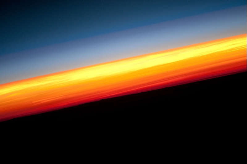 40. Earth's Colorful Horizon, January 3, 2010 at 12:27:52 GMT, As Seen From the International Space Station (Expedition Twenty-Two) While Orbitng Above the North Pacific Ocean, Latitude (LAT): 4.9, Longitude (LON): -117.0, Altitude (ALT): 180 Nautical Miles, Sun Azimuth (AZI): 113 degrees, Sun Elevation Angle (ELEV): -21 degrees. Photo Credit: NASA, International Space Station (Expedition 22), ISS022-E-16109; Image Science and Analysis Laboratory, NASA-Johnson Space Center. 'Astronaut Photography of Earth - Display Record.' <http://eol.jsc.nasa.gov/scripts/sseop/photo.pl?mission=ISS022&roll=E&frame=16109>; National Aeronautics and Space Administration (NASA, http://www.nasa.gov), Government of the United States of America (USA).