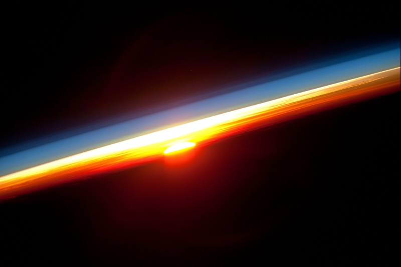 40. Earth's Colorful Horizon, January 3, 2010 at 12:27:52 GMT, As Seen From the International Space Station (Expedition Twenty-Two) While Orbitng Above the North Pacific Ocean, Latitude (LAT): 1.5, Longitude (LON): -114.6, Altitude (ALT): 181 Nautical Miles, Sun Azimuth (AZI): 113 degrees, Sun Elevation Angle (ELEV): -18 degrees. Photo Credit: NASA, International Space Station (Expedition 22), ISS022-E-16133; Image Science and Analysis Laboratory, NASA-Johnson Space Center. 'Astronaut Photography of Earth - Display Record.' <http://eol.jsc.nasa.gov/scripts/sseop/photo.pl?mission=ISS022&roll=E&frame=16109>; National Aeronautics and Space Administration (NASA, http://www.nasa.gov), Government of the United States of America (USA).