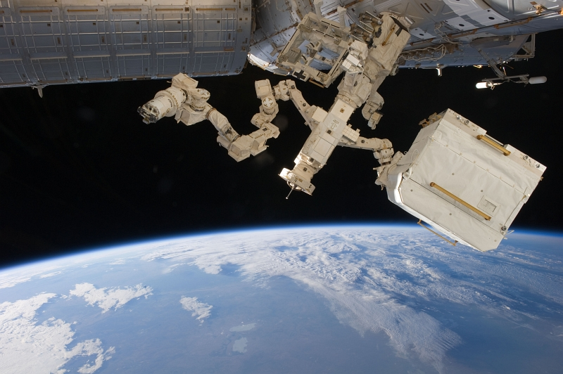 44. Dextre -- Backdropped By the Blackness of Space and Earth's Blue Atmospheric Limb -- Orbits Over Blue-and-White Earth, April 18, 2011, As Seen From the International Space Station (Expedition 27). Dextre, a Robot, Is Also Known As the Special Purpose Dextrous Manipulator (SPDM). Photo Credit: International Space Station (http://spaceflight.nasa.gov/gallery/images/station/crew-27/ndxpage1.html), ISS027-E-016182 (http://spaceflight.nasa.gov/gallery/images/station/crew-27/html/iss027e016182.html), NASA Human Space Flight (http://spaceflight.nasa.gov), National Aeronautics and Space Administration (NASA, http://www.nasa.gov), Government of the United States of America.