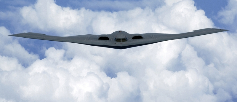 43. U.S. Air Force B-2 Spirit Stealth Bomber Flying Over the Pacfic Ocean, May 2, 2005. Tech. Sgt. Cecilio Ricardo, United States Air Force; Defense Visual Information (DVI, http://www.DefenseImagery.mil, DF-SD-08-04415 and 050502-F-MJ260-005) and United States Air Force (USAF, http://www.af.mil), United States Department of Defense (DoD, http://www.DefenseLink.mil or http://www.dod.gov), Government of the United States of America (USA).