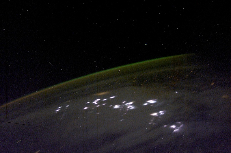 4. Southern Lights or Aurora Australis and Lightning, April 23, 2003 at 08:23:26.692 GMT As Seen From the International Space Station (Expedition 6). Photo Credit: NASA; ISS006-E-48196, Aurora Australis or Southern Lights, Lightning, International Space Station (Expedition Six); Image Science and Analysis Laboratory, NASA-Johnson Space Center. 'Astronaut Photography of Earth - Display Record.' <http://eol.jsc.nasa.gov/scripts/sseop/photo.pl?mission=ISS006&roll=E&frame=48196> National Aeronautics and Space Administration (NASA, http://www.nasa.gov), Government of the United States of America (USA).