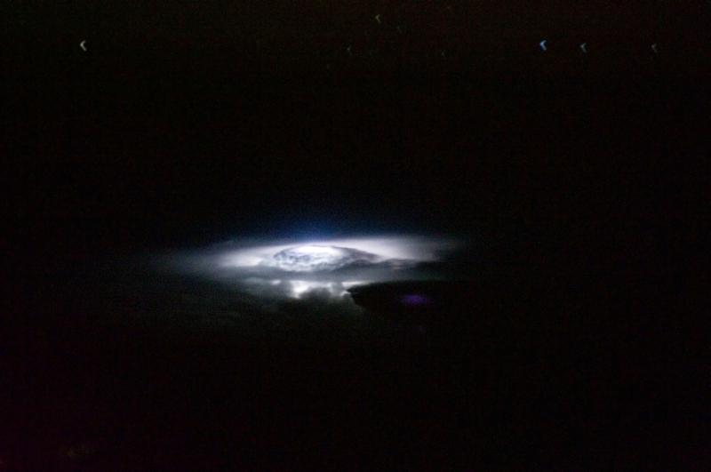 Lightning Over the Molucca Sea (In the Western Pacific Ocean), November 4, 2010 at 15:56:23 GMT, As Seen From the International Space Station (Expedition 25), Latitude (LAT): 2.5, Longitude (LON): 127.0, Altitude (ALT): 188 Nautical Miles, Sun Azimuth (AZI): 143 degrees, Sun Elevation Angle (ELEV): -74 degrees. Photo Credit: NASA, International Space Station (Expedition Twenty-Five), ISS025-E-16928; Image Science and Analysis Laboratory, NASA-Johnson Space Center. 'Astronaut Photography of Earth - Display Record.' <http://eol.jsc.nasa.gov/scripts/sseop/photo.pl?mission=ISS025&roll=E&frame=16928>; National Aeronautics and Space Administration (NASA, http://www.nasa.gov), Government of the United States of America (USA).
