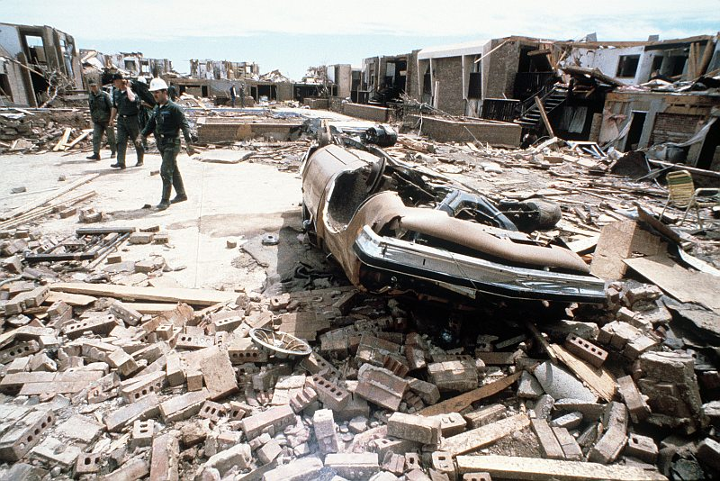"""1. """"The Red River Valley Tornado Outbreak of April 10, 1979"""" (http://web.archive.org/web/20061008140433/www.srh.noaa.gov/oun/wxevents/19790410/): Searching for survivors in the wreakage of an apartment complex blown apart, completely destroyed by a powerful tornado. April 11, 1979 (photo date), Wichita Falls, State of Texas, USA. Photo Credit: Master Sgt. Paul J. Harrington, United States Air Force; Defense Visual Information (DVI, http://www.DefenseImagery.mil, DF-ST-84-08220 and DFST8408220) and United States Air Force (USAF, http://www.af.mil), United States Department of Defense (DoD, http://www.DefenseLink.mil or http://www.dod.gov), Government of the United States of America (USA)."""