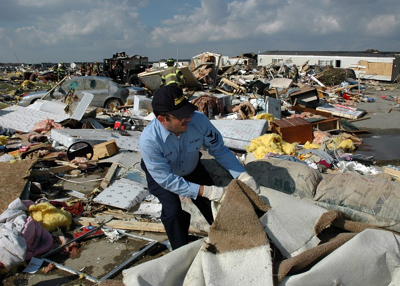 5. Search and rescue operation amidst the remains of a mobile home park destroyed by a powerful tornado. November 6, 2005, Evansville, State of Indiana, USA. Photo Credit: Photographer's Mate 2nd Class Joseph C. Garza, Navy NewsStand - Eye on the Fleet Photo Gallery (http://www.news.navy.mil/view_photos.asp, 051106-N-1755G-006), United States Navy (USN, http://www.navy.mil), United States Department of Defense (DoD, http://www.DefenseLink.mil or http://www.dod.gov), Government of the United States of America (USA).