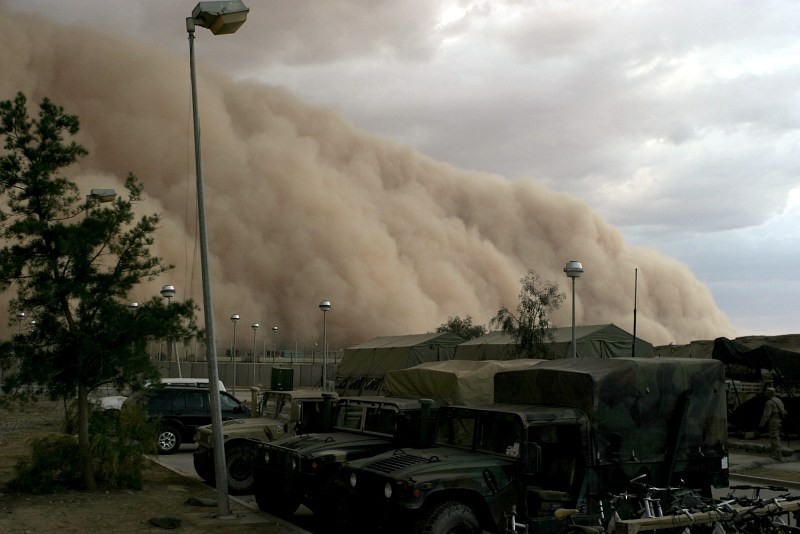2. As Nightfall Approaches So Does a Very Powerful, Very Fast Desert Windstorm Accompanied by Huge Mountains of Sand, a Massive Sandstorm Which Will Reduce Visibility to Near Zero, April 27, 2005, Al Asad, Al Anbar Province, Al Jumhuriyah al Iraqiyah - Republic of Iraq. Photo Credit: Corporal Alicia M. Garcia, United States Marine Corps (USMC, http://www.usmc.mil); Navy NewsStand - Eye on the Fleet Photo Gallery (http://www.news.navy.mil/view_photos.asp, 050427-M-5607G-001), United States Navy (USN, http://www.navy.mil), United States Department of Defense (DoD, http://www.DefenseLink.mil or http://www.dod.gov), Government of the United States of America (USA).