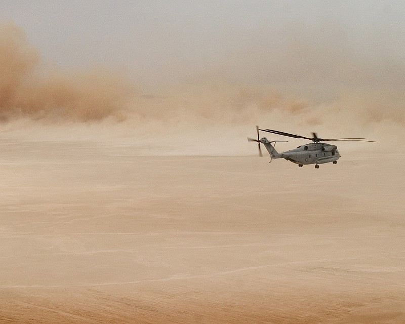 4. Aerial View of a Huge Desert Sandstorm, May 17, 2005, Al Anbar Province, Al Jumhuriyah al Iraqiyah - Republic of Iraq. Photo Credit: Corporal Alicia M. Garcia, United States Marine Corps (USMC, http://www.usmc.mil); Navy NewsStand - Eye on the Fleet Photo Gallery (http://www.news.navy.mil/view_photos.asp, 050517-M-5607G-060), United States Navy (USN, http://www.navy.mil), United States Department of Defense (DoD, http://www.DefenseLink.mil or http://www.dod.gov), Government of the United States of America (USA).