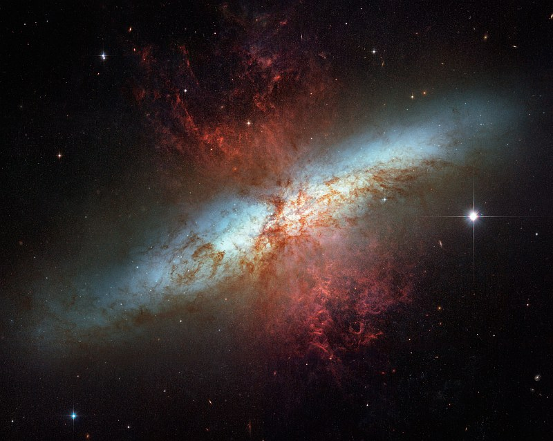 Beautiful, Awe-Inspiring, and Magnificent View of Starburst Galaxy M82 - NGC 3034, Ursa Major Constellation. Photo Credit: Happy Sweet Sixteen, Hubble Telescope!, March 27-29, 2006 (Release date: April 24, 2006), STScI-2006-14, NASA's Earth-orbiting Hubble Space Telescope (http://HubbleSite.org); The Hubble Heritage Team (STScI/AURA), European Space Agency (ESA, http://SpaceTelescope.org), National Aeronautics and Space Administration (NASA, http://www.nasa.gov), Government of the United States of America (USA). Acknowledgment: J. Gallagher (University of Wisconsin), M. Mountain (STScI), and P. Puxley (National Science Foundation).