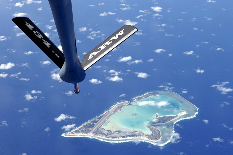 """Aerial View of Wake Island, USA, an Atoll In the North Pacific Ocean. Photo Credit: Tech. Sgt. Shane A. Cuomo, Air Force Link - Photos (http://www.af.mil/photos, 061215-F-2034C-001, """"Fuel for the Pacific""""), United States Air Force (USAF, http://www.af.mil), United States Department of Defense (DoD, http://www.DefenseLink.mil or http://www.dod.gov), Government of the United States of America (USA)."""